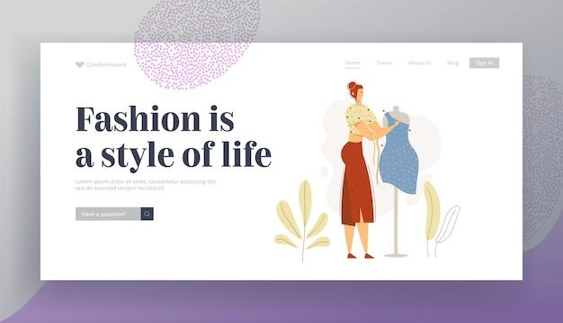 Dressmaker character working on mannequin landing page banner.