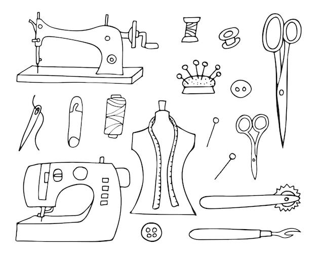 ベクトルの洋裁落書きアイコンコレクション。手描きの洋裁アイコンコレクション。