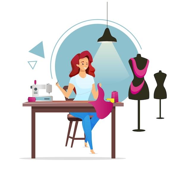 양장점 평면 컬러 일러스트입니다. 여성 재단사. 아틀리에. 패션 디자이너. 여자 바느질 옷. 봉제 스튜디오. 침모. 소녀 절단 직물. 화이트에 고립 된 만화 캐릭터