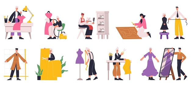 洋裁縫製、デザイナー仕立て、衣料産業で働くキャラクター。仕立て屋、仕事での針子ベクトルイラストセット。服飾デザイナーのキャラクター。洋裁とデザイナーが生地を扱う