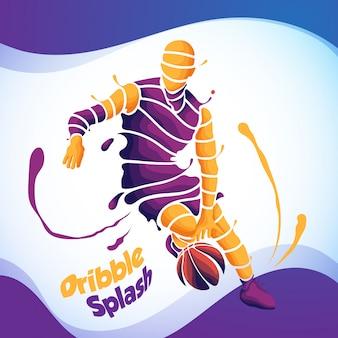 Dribble splash basketball silhouette
