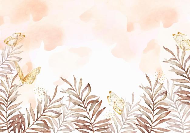 말린 가을 이국적인 나뭇잎 손 그림 수채화 배경
