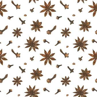 Dried clove and star anise white seamless pattern