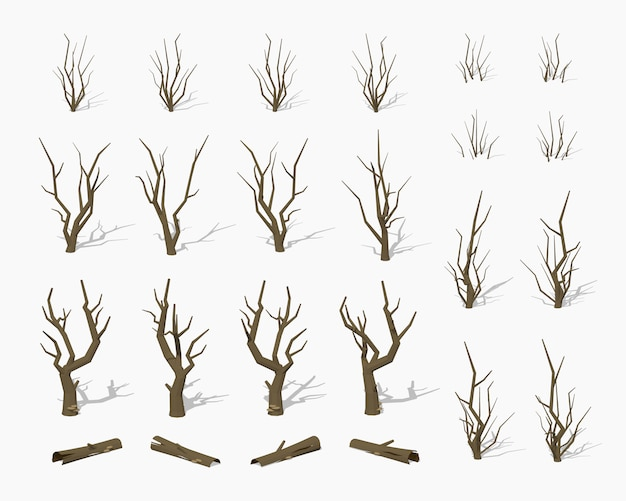 Dried dead 3d lowpoly isometric trees