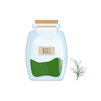Сушеный укроп хранится в стеклянной банке, изолированной на белом фоне. ароматные травы, пищевая специя или приправа, ингредиенты для приготовления в закрытом прозрачном контейнере. красочные векторные иллюстрации.