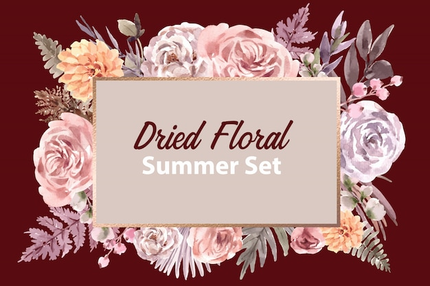Dried floral banner template