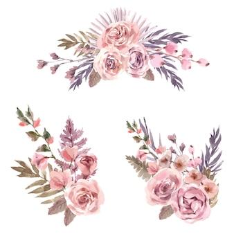 キンギョソウ、バラ、ナナカマドとドライフラワーブーケ水彩イラスト