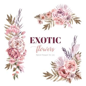 乾燥した花の花束の水彩イラスト