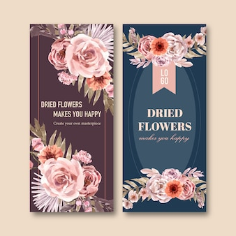 Dried floral flyer template watercolor illustration.