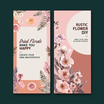 Dried floral flyers in watercolor style