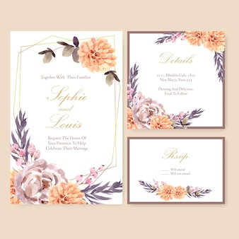 Dried floral wedding card template watercolor illustration