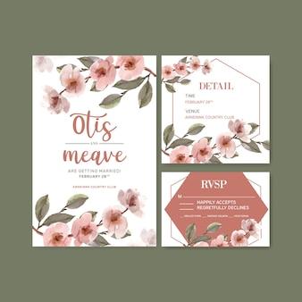 Сушеные цветочные свадебные карточки шаблон акварельные иллюстрации