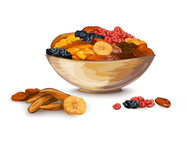 Dried fruits illustration