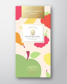 Dried fruits label packaging design layout.