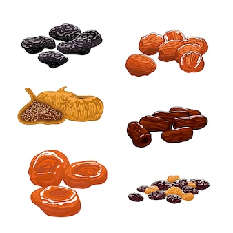 Dried fruits set. dates, figs, apricots, plums, prunes. sweet and dessert snacks