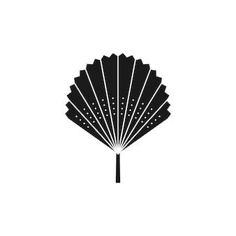 シンプルなスタイルの乾燥したヤシの葉のシルエット。ベクトル熱帯の葉自由奔放に生きるエンブレム。ロゴ、パターン、tシャツのプリント、タトゥーのデザイン、ソーシャルメディアの投稿とストーリーを作成するためのファンのイラスト