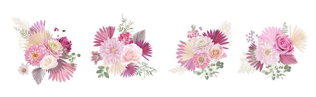 말린 팜파스 풀, 장미, 달리아 꽃, 열대 야자수 잎 벡터 부케. 결혼식 화환, 꽃다발 프레임, 장식 디자인 요소에 대한 파스텔 수채화 꽃 템플릿 격리 컬렉션
