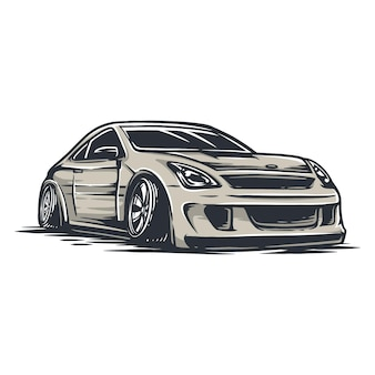 Drift car in  file vector, easy to change color, add a text and other element