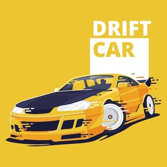 ドリフトカーフラットデザインイラスト