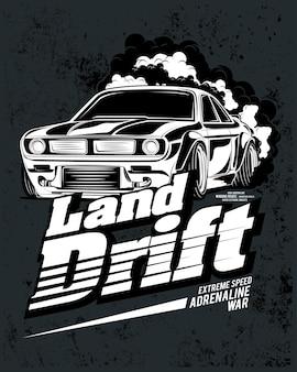 Дрифт летняя земля, супер классический автомобиль иллюстрация