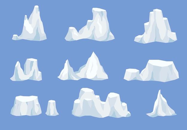 Дрейфующий айсберг или замерзшая вода океана, кристально-ледяная гора со снегом. ледяная гора, большой кусок пресноводного голубого льда в открытой воде. зимний пейзаж для игрового дизайна мультфильма
