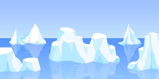 漂う氷山または凍った海の水のセット、雪のある結晶の氷の山。氷の山、オープンウォーターの淡水ブルーアイスの大きな部分。ゲームデザイン漫画illustratの冬の風景
