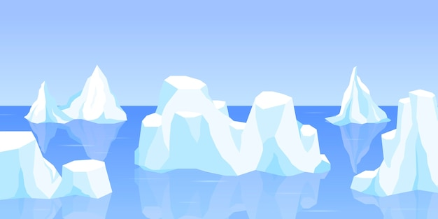 Drifting iceberg or set of frozen ocean water, crystal icy mountain with snow. ice mountain, large piece of freshwater blue ice in open water. winter landscape for game design cartoon illustrat