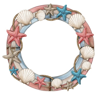 Рамка из коряги с морскими звездами и морскими ракушками