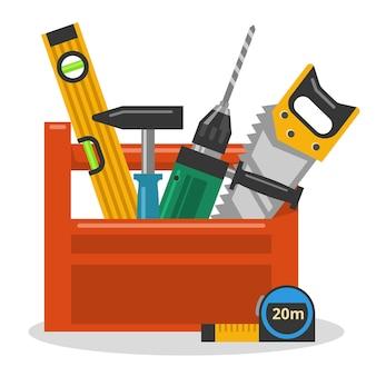 Дрель, молоток, пила и уровень в ящике для инструментов. векторная иллюстрация