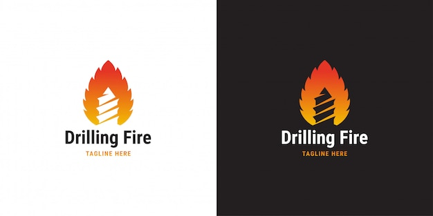 Drilling fire logo design template