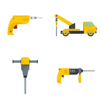 Drilling machine electric icons set