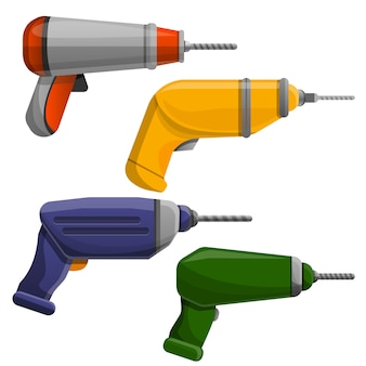 Drilling machine icon set, cartoon style