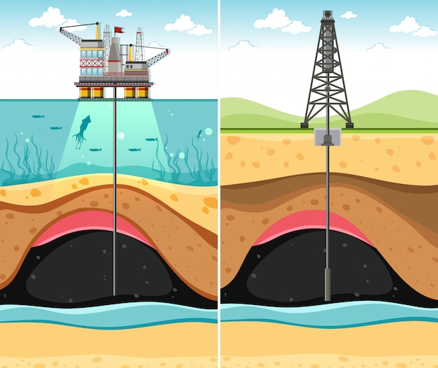 Drilling oil well through the land and the sea to underground oil