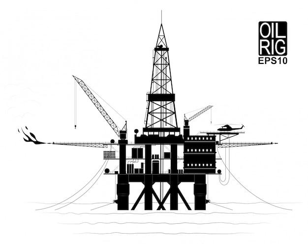 海底から石油またはガスを生産するための掘削プラットフォーム。トレースされた細部を持つ黒と白の輪郭。側面図。