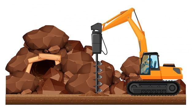 광산에서 일하는 드릴링 트랙터