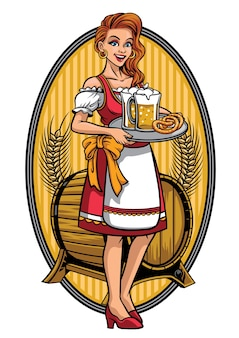 美しい女の子、drindl、ビールを贈る