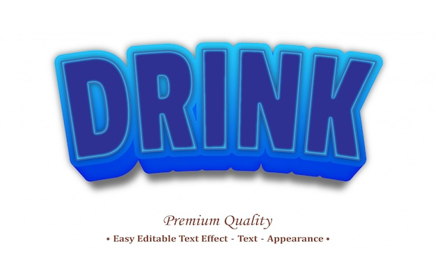 Drink 3d editable text style effect