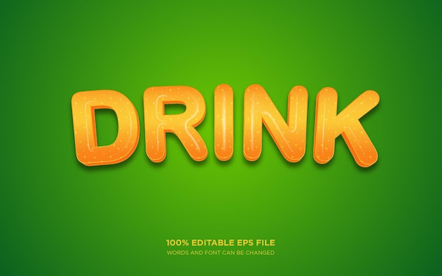 음료 3d 편집 가능한 텍스트 스타일 효과