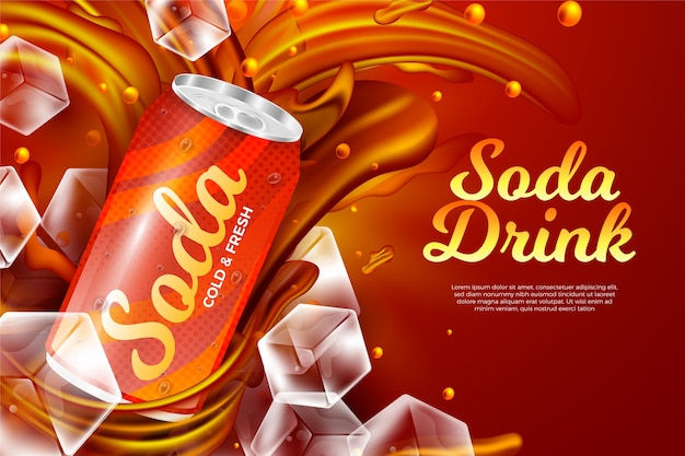 Шаблон рекламы напитка для газированного напитка