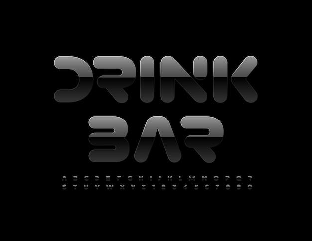 Drink bar dark black font shiny alphabet letters and numbers set