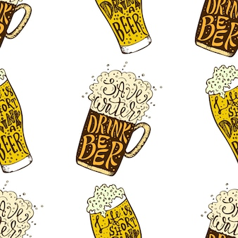 Drink beer hand drawn lettering seamless pattern octoberfest beer lovers seamless texture  vector il...