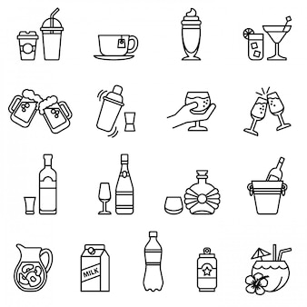 Drink and beverage icons set. thin line style stock.