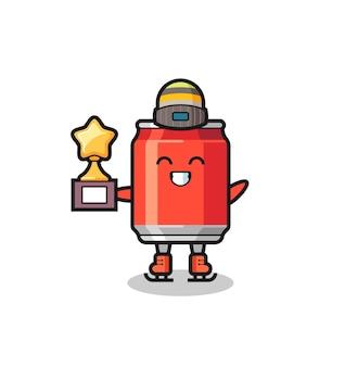 アイススケート選手が優勝トロフィー、tシャツ、ステッカー、ロゴ要素のかわいいスタイルのデザインを保持するように飲み物缶漫画
