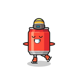 Drink can cartoon as an ice skating player doing perform , cute style design for t shirt, sticker, logo element