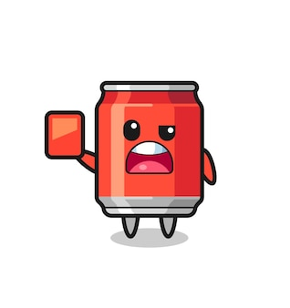 Drink can cute mascot as referee giving a red card , cute style design for t shirt, sticker, logo element
