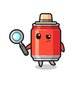 Drink can detective character is analyzing a case , cute style design for t shirt, sticker, logo element