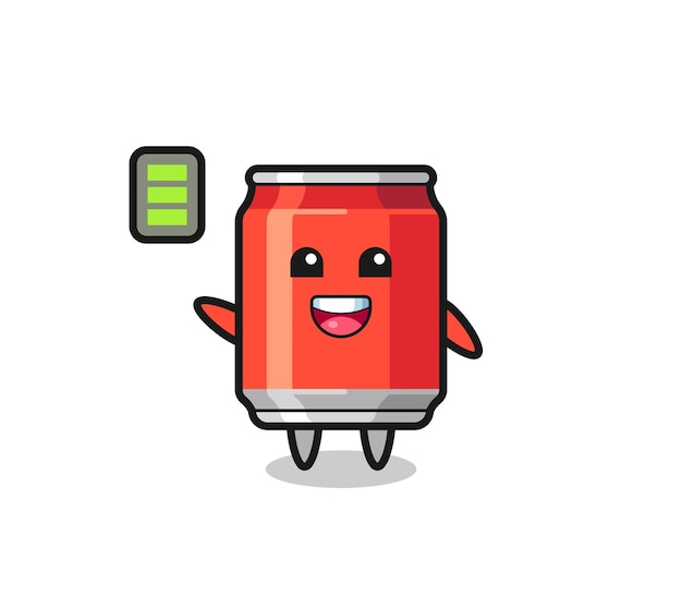 Drink can mascot character with energetic gesture , cute style design for t shirt, sticker, logo element