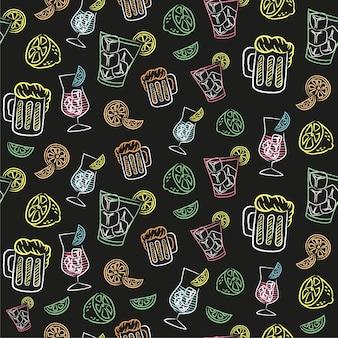 Drink cocktail chalkboard pattern