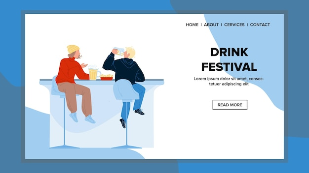 Drink festival visit men and drink beer vector. young boys friends visiting drink festival party, drinking brewed beverage and eating snack meal. characters sitting at table flat cartoon illustration