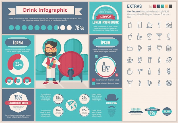 Drink flat design infographic template and icons set